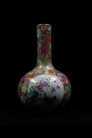 Chinese Long Neck Famille Rose Vase Mark