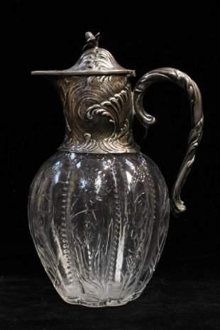Glass Vase w Silver Mount