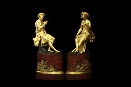Pair of 18th.C Gilt Bronze Figures w Marble Base