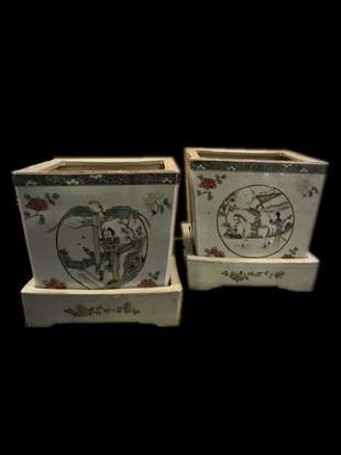 Pair of Chinese Famille Rose Porcelain Planters