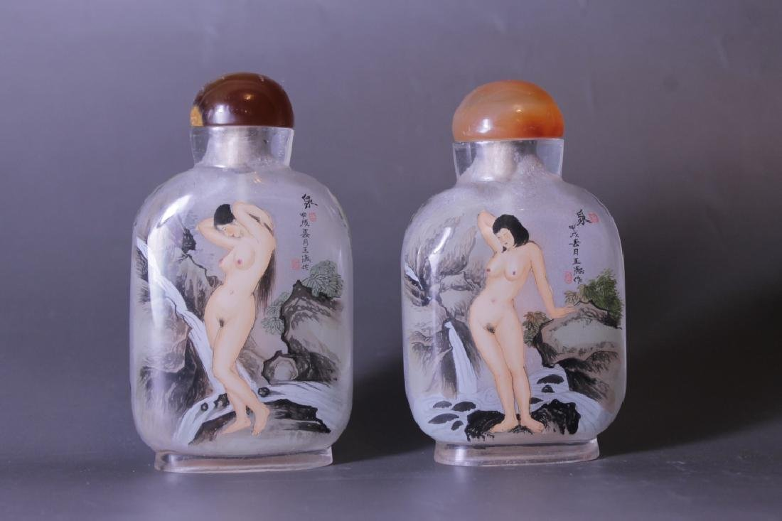 Pair of Chinese Glass Snuff Bottles
