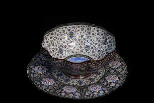 Persian Enamel Copper Bowl Plate