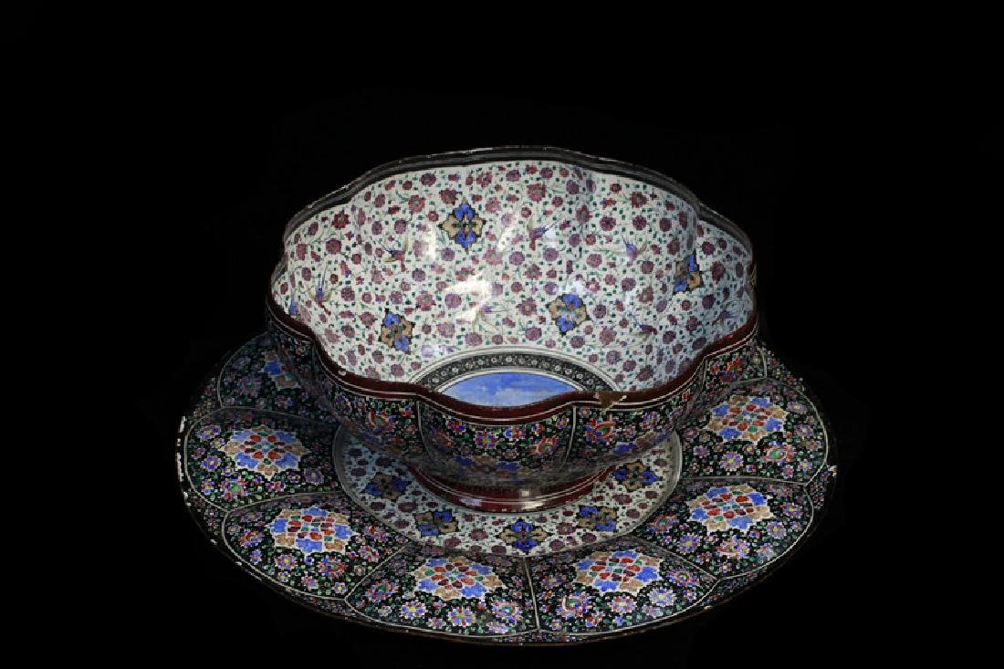 Persian Enamel & Copper Bowl & Plate