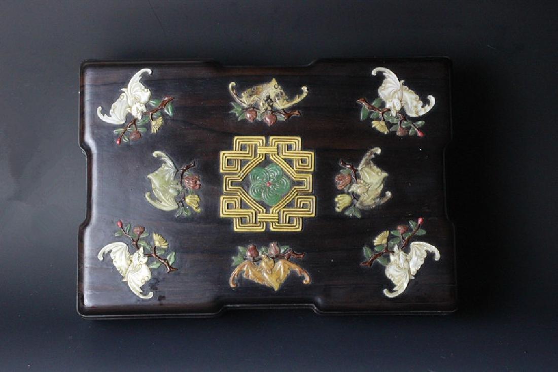 19th.C Chinese Zitan wood Box w Agate