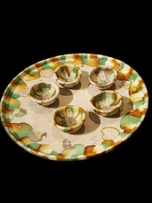 Set of Tang Dynasty Pottery Tray and Five Cups