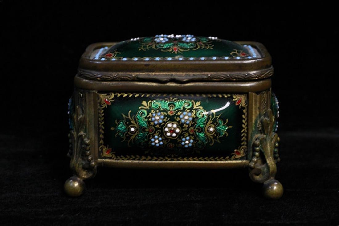 Bronze & Enamel Jewelry  Box