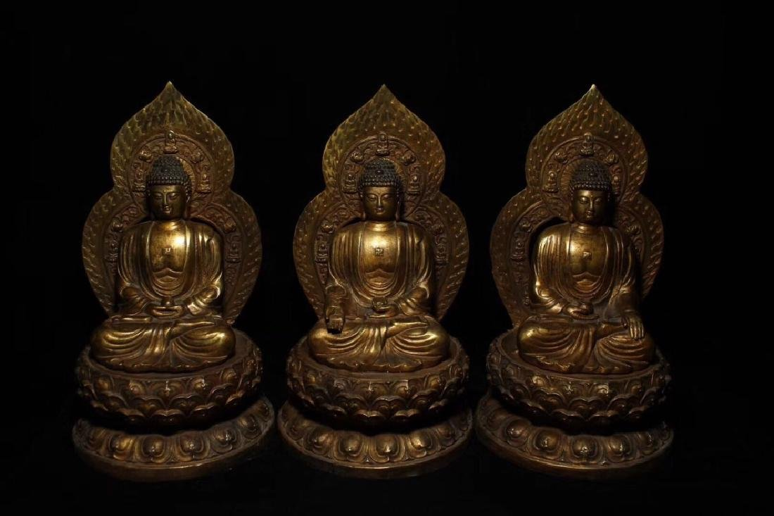 Three Chinese Gilt Bronze Carved Seated Buddha
