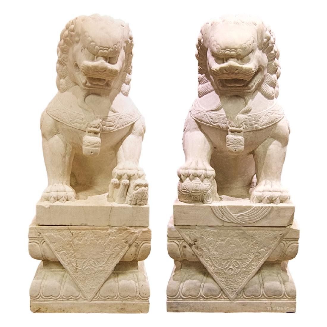Imperial Pair White Marble Carved Temple Foo-Dog