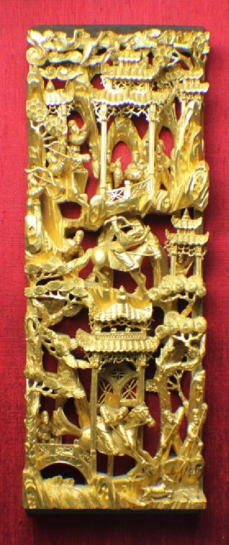 A Gild Open-work Carving Wood Panel