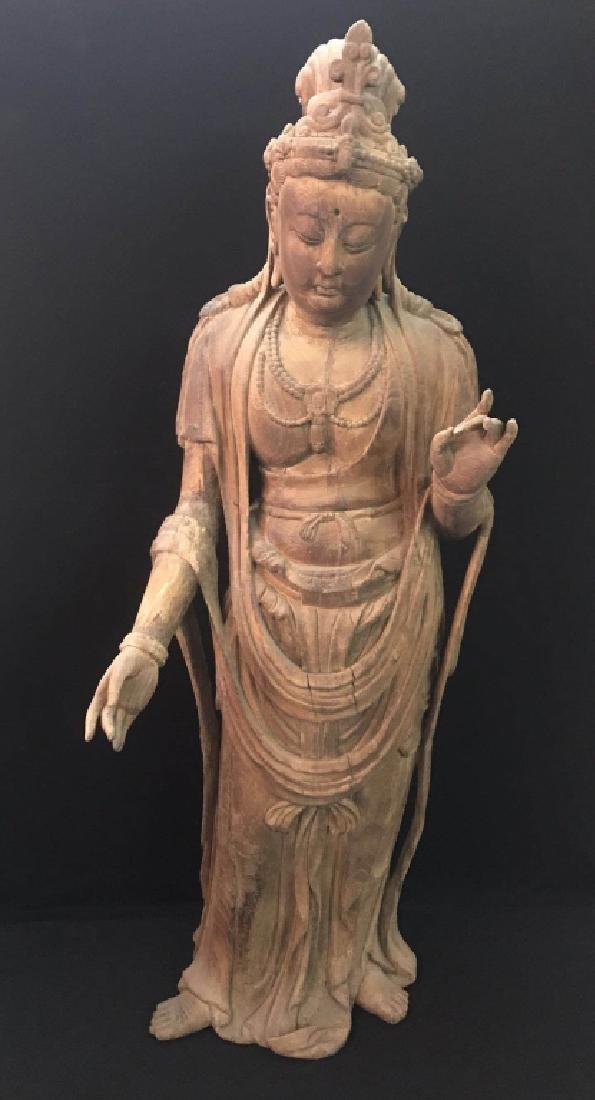 Large Chinese Wood Carved Standing Buddha