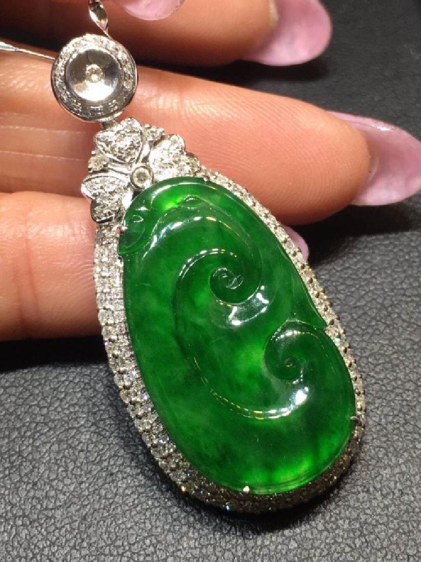 Chinese Green Jadeite Pendant