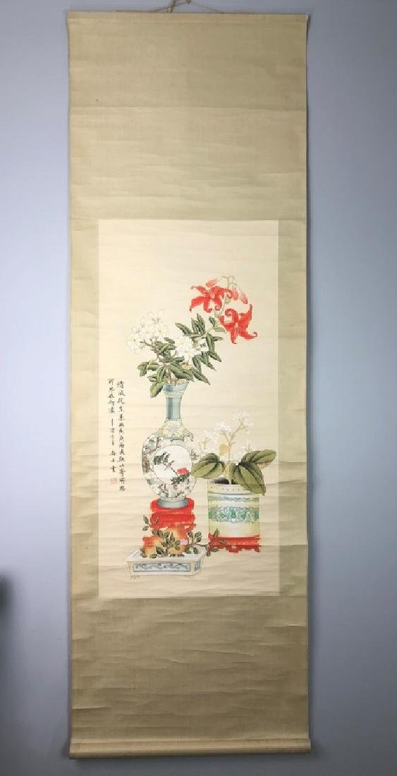 Chinese Birds and Flowers Scroll Painting