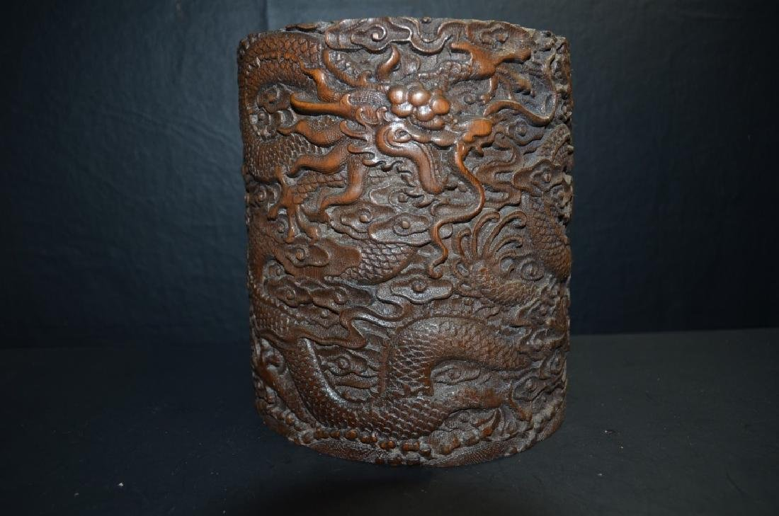 Antique ChineseHand Carved  Bamboo BrushPot