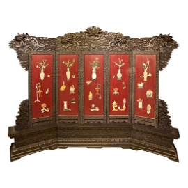 A Set of Wooden Carved Red Lacquer Floor Screen