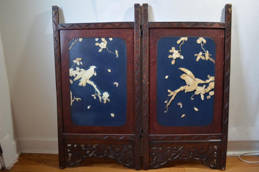 18th or 19th C PAIR OF CHINESE WOOD PANEL ,