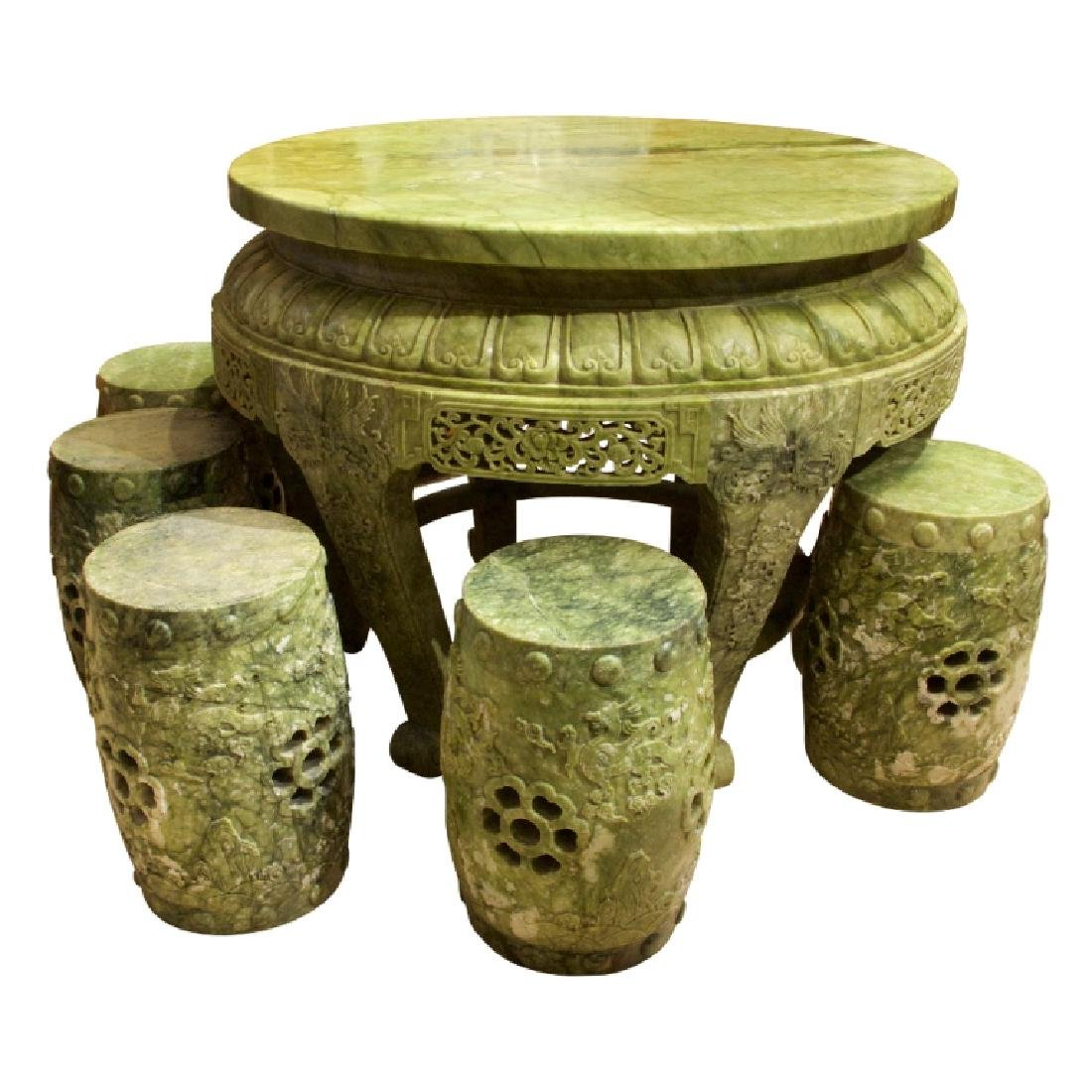 Imperial Jade Table and Stool Set.