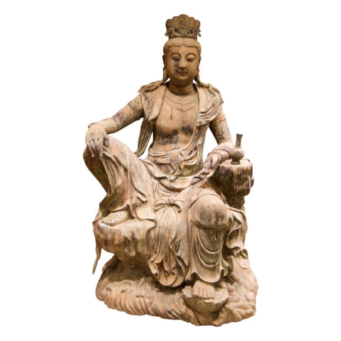 """Imperial Bronze Sculpture of """"Kuan-Yin""""figure."""