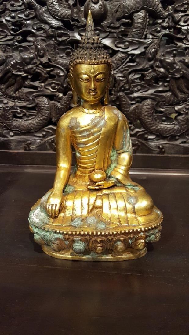 19th century, Chinese Gilt Bronze Buddha