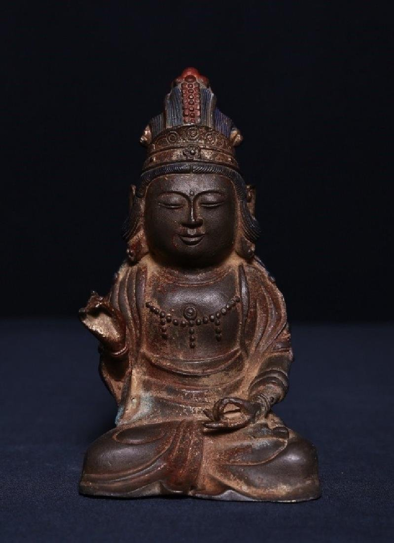 19th.C Chinese Gilt Bronze Seated Buddha