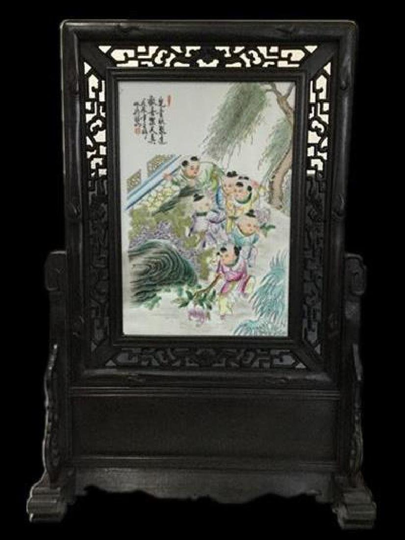 Chinese Famille Rose Porcelain Plaque w Stand