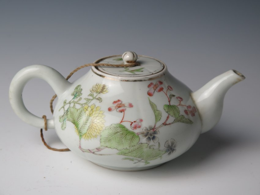 Chinese Famille Rose Teapot w Calligraphy