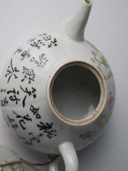 Chinese Famille Rose Teapot w Calligraphy - 4
