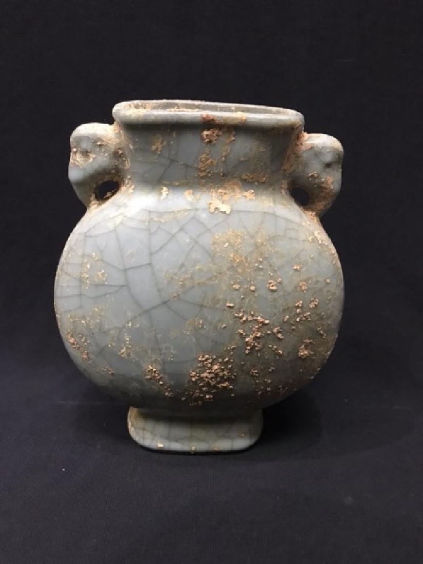 Chinese Celadon Glazed Vase w Handles