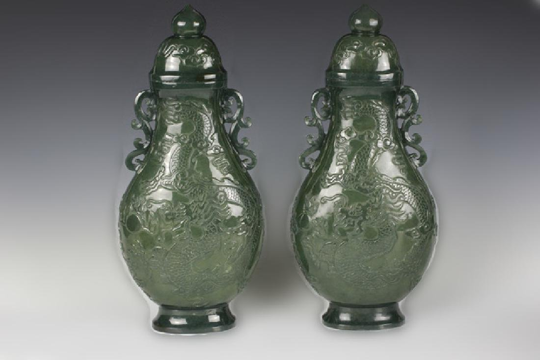 Pair of Chinese Spanish Jade Carved Vases