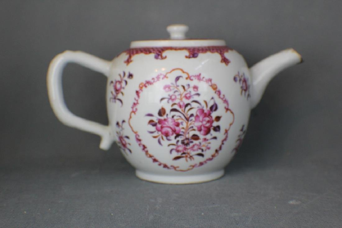 Export Chinese famille rose teapot ,mid Qing Dynas