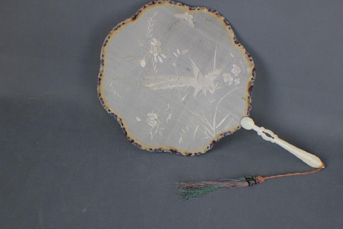 A Chinese Qing Dynasty Silk Fan