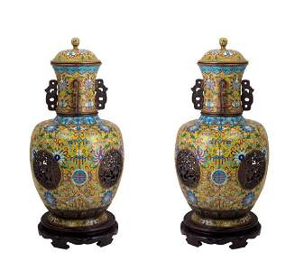 Pair of cloisonne jars and covers
