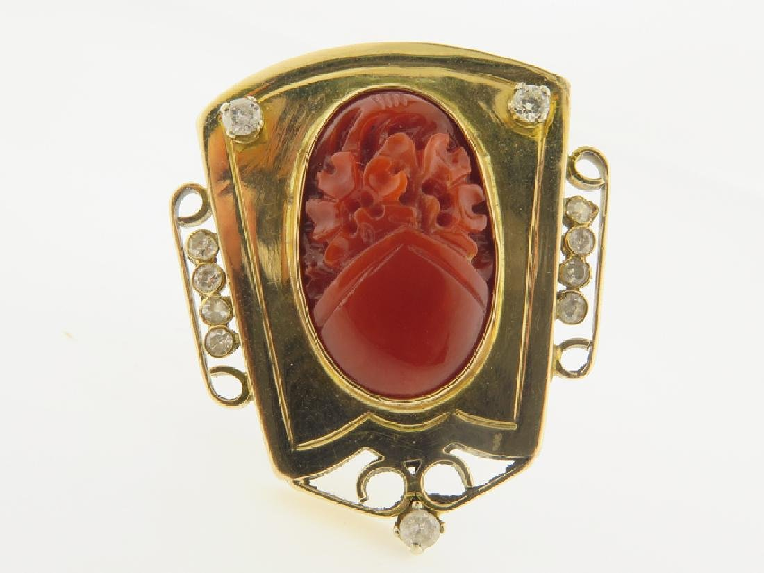 gold chinese ring with coral and daimond