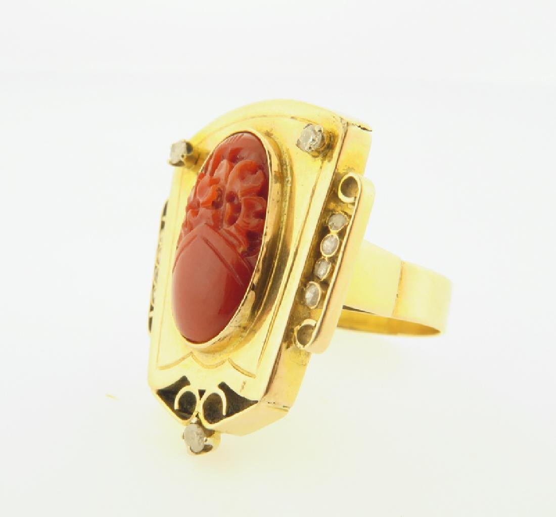 gold chinese ring with coral and daimond - 2