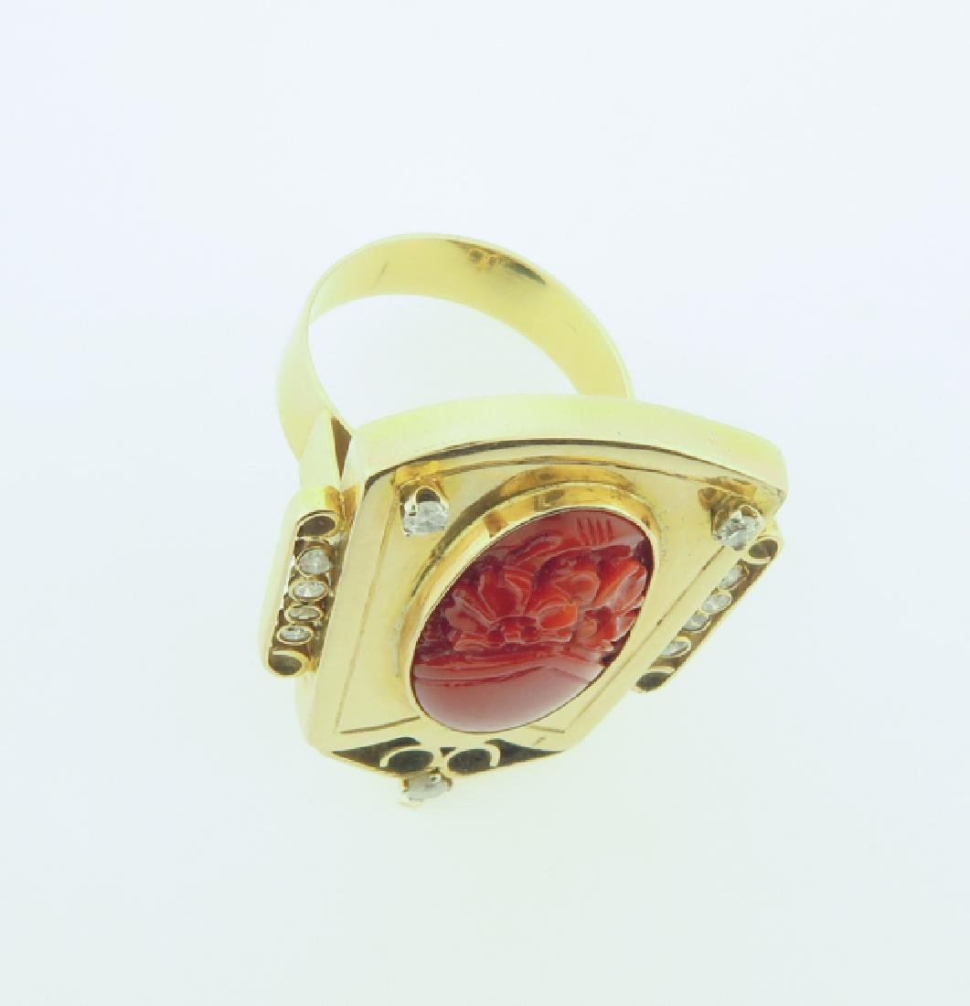 gold chinese ring with coral and daimond - 5