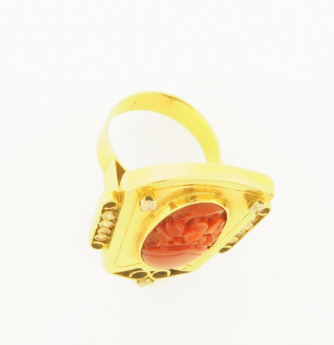 gold chinese ring with coral and daimond - 6
