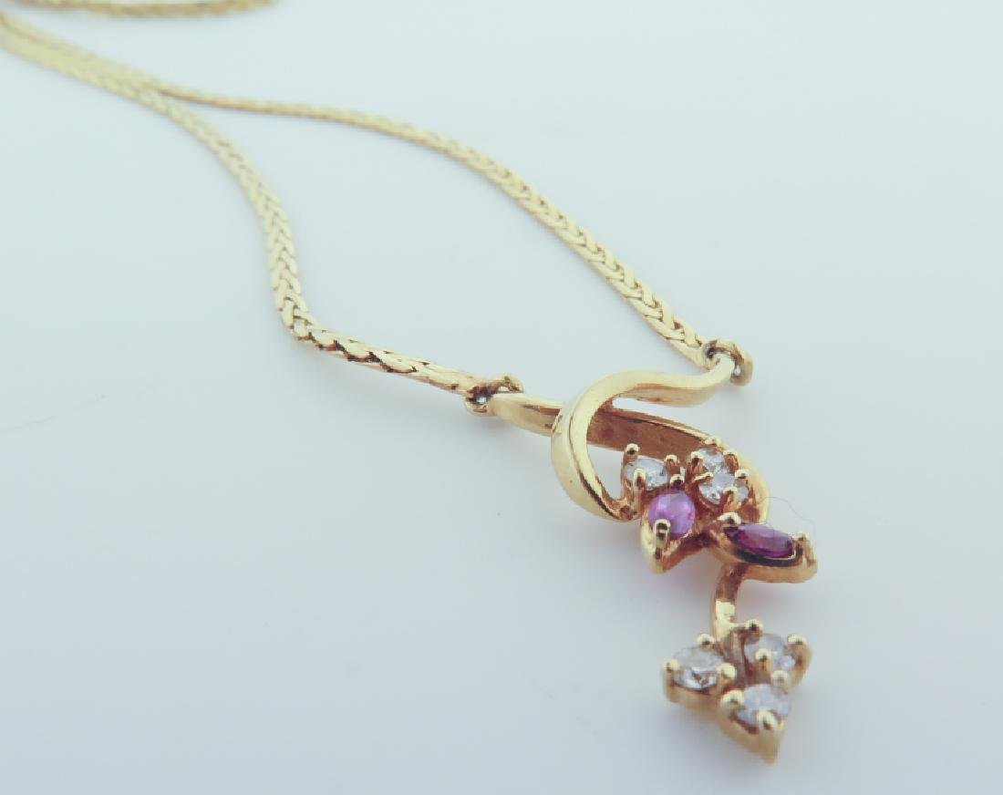 Chain 14k Italy with diamands and pink sapphire - 3