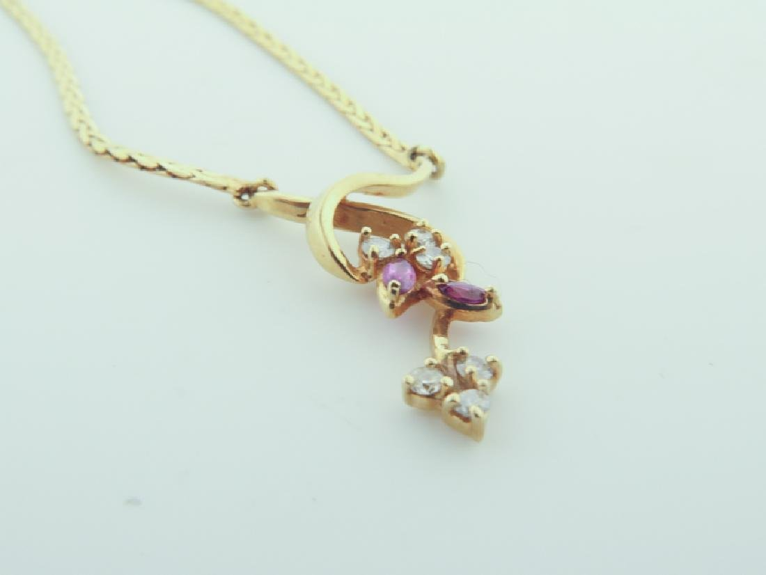 Chain 14k Italy with diamands and pink sapphire - 4