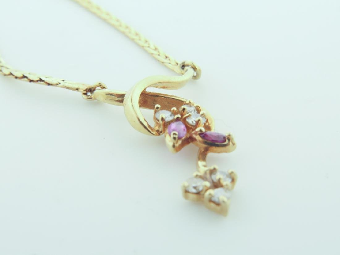 Chain 14k Italy with diamands and pink sapphire - 5