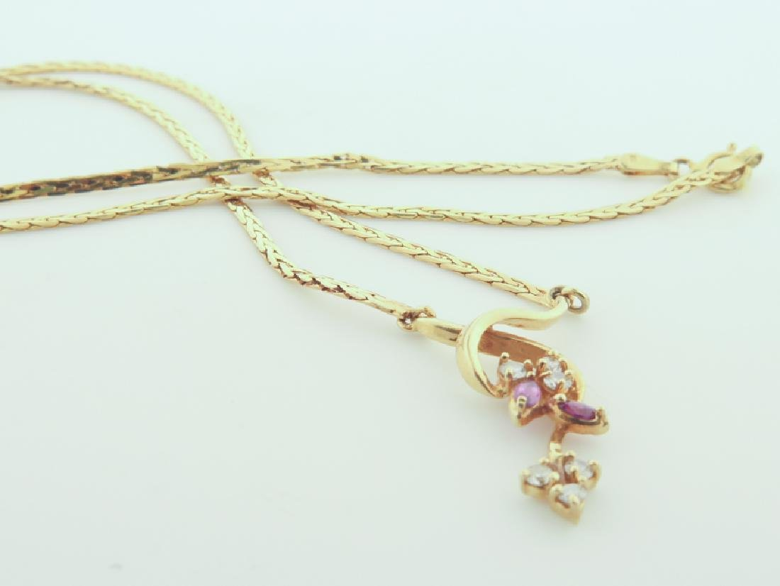 Chain 14k Italy with diamands and pink sapphire - 6
