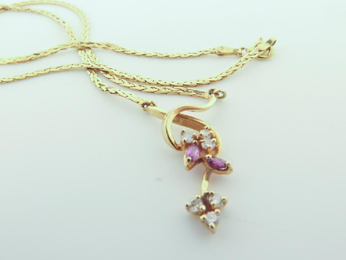 Chain 14k Italy with diamands and pink sapphire - 7