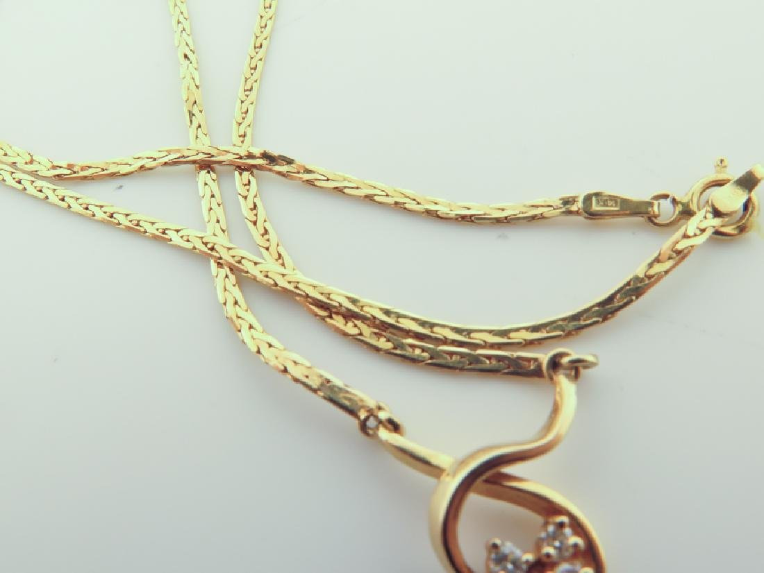 Chain 14k Italy with diamands and pink sapphire - 8