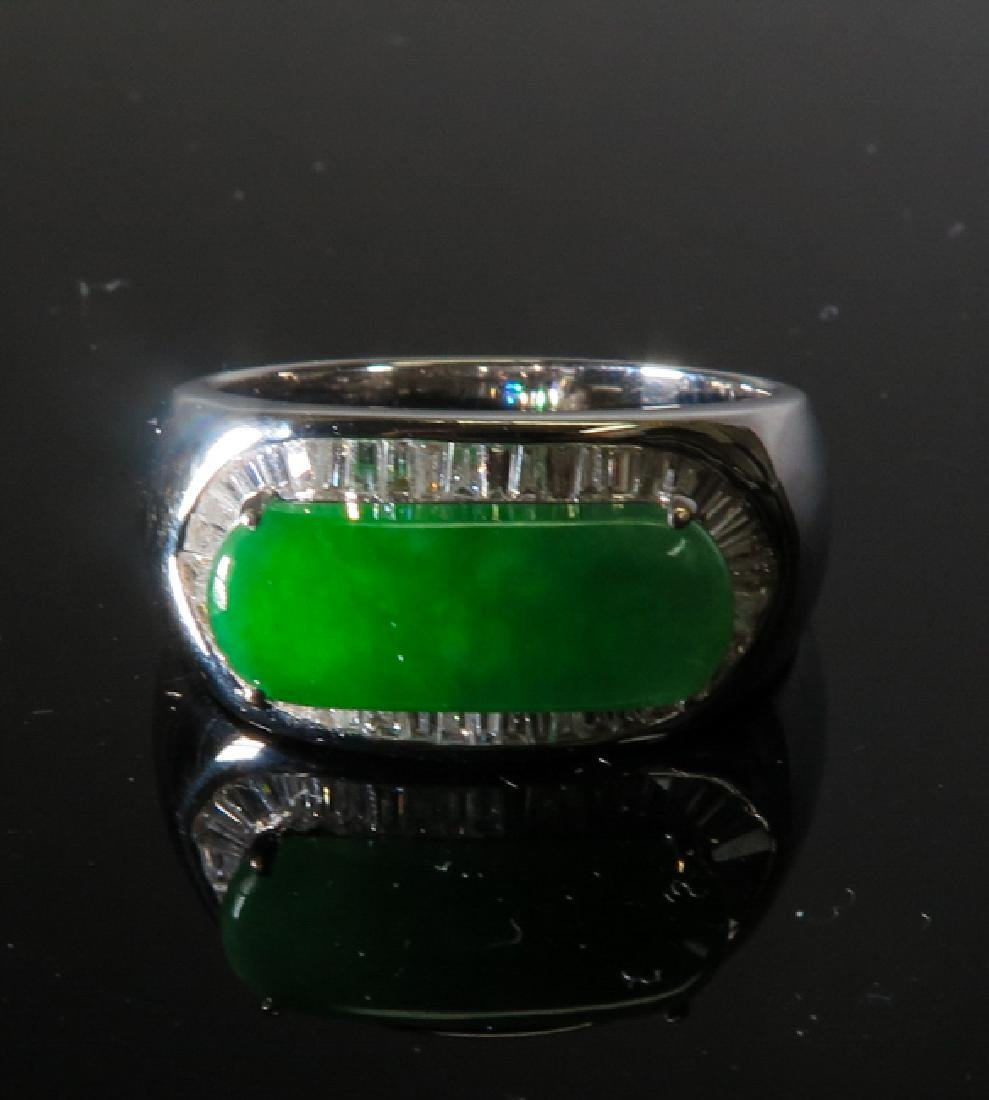 18k White Gold Diamond jadeite Ring