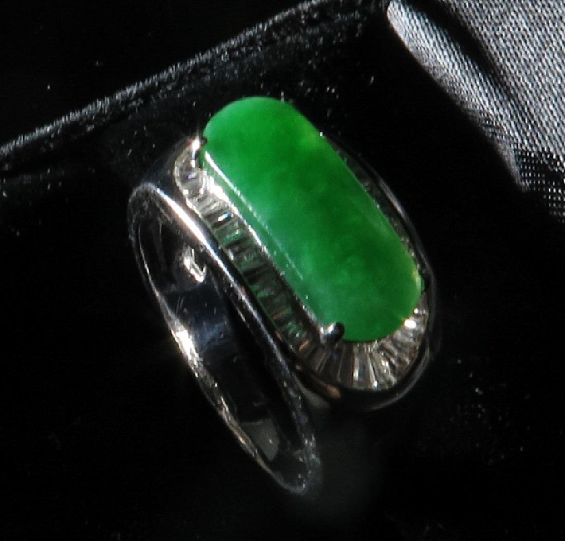 18k White Gold Diamond jadeite Ring - 3