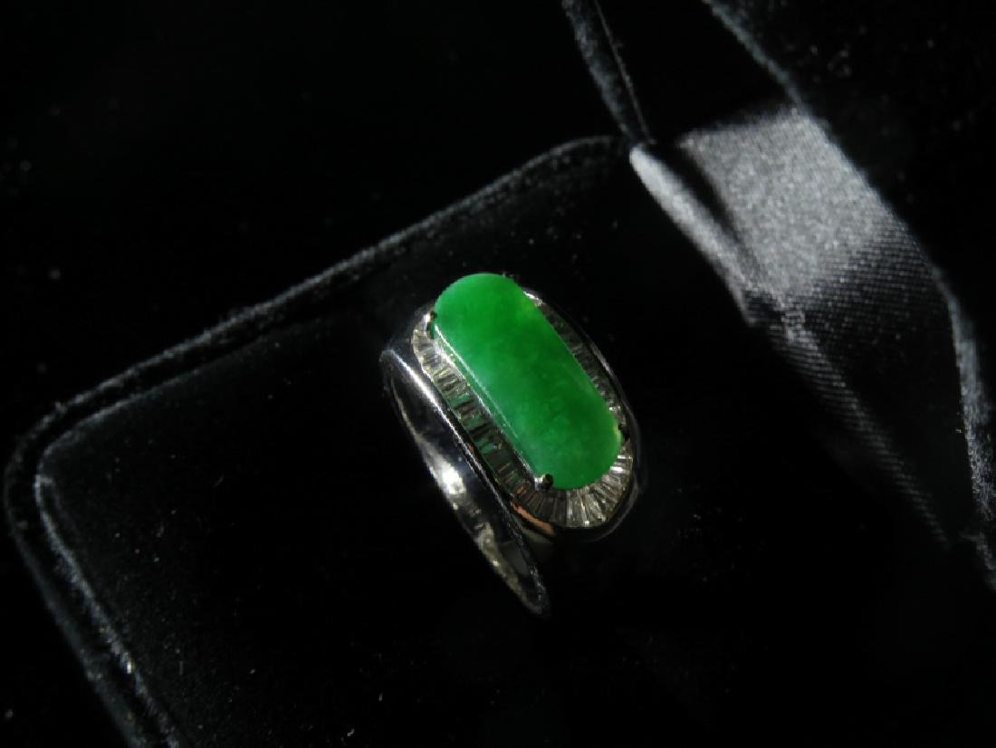 18k White Gold Diamond jadeite Ring - 4