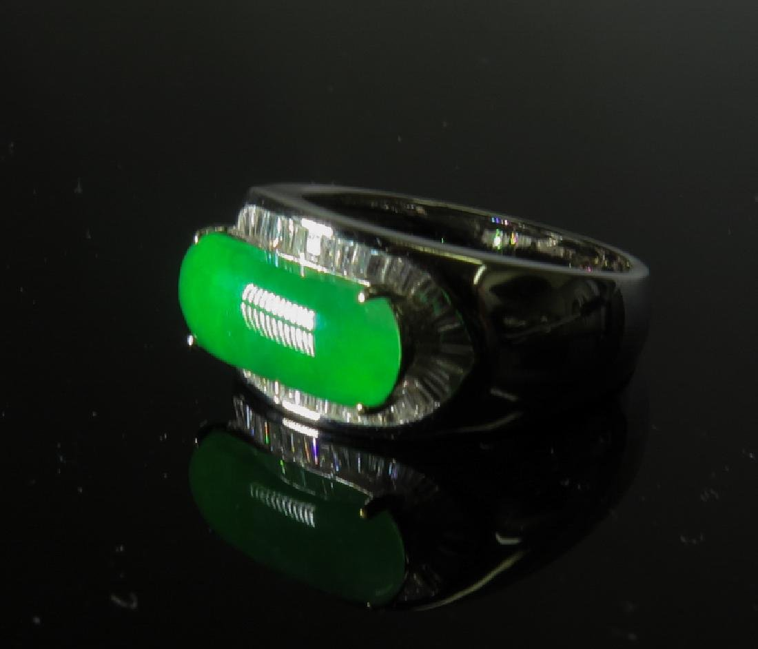 18k White Gold Diamond jadeite Ring - 7