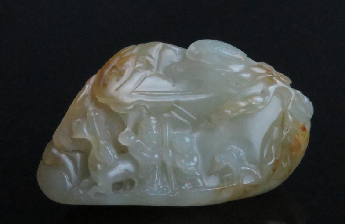 A carved white jade boulder - 7