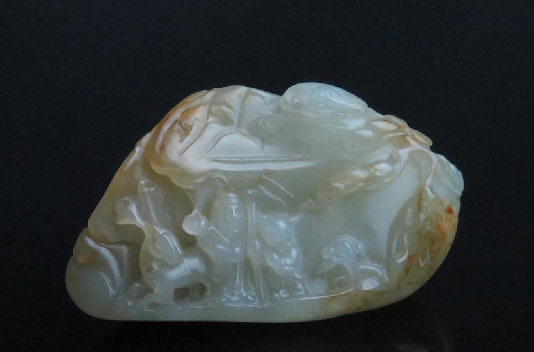 A carved white jade boulder - 8