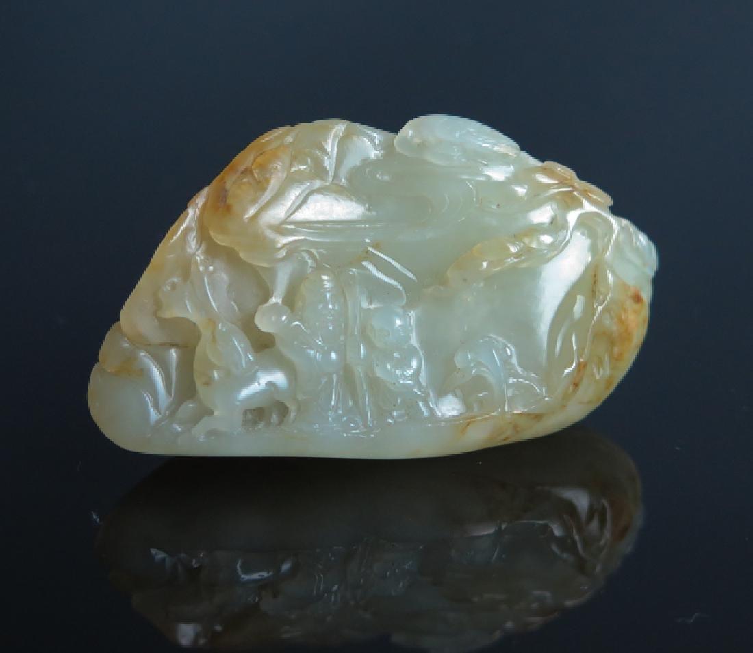 A carved white jade boulder - 9