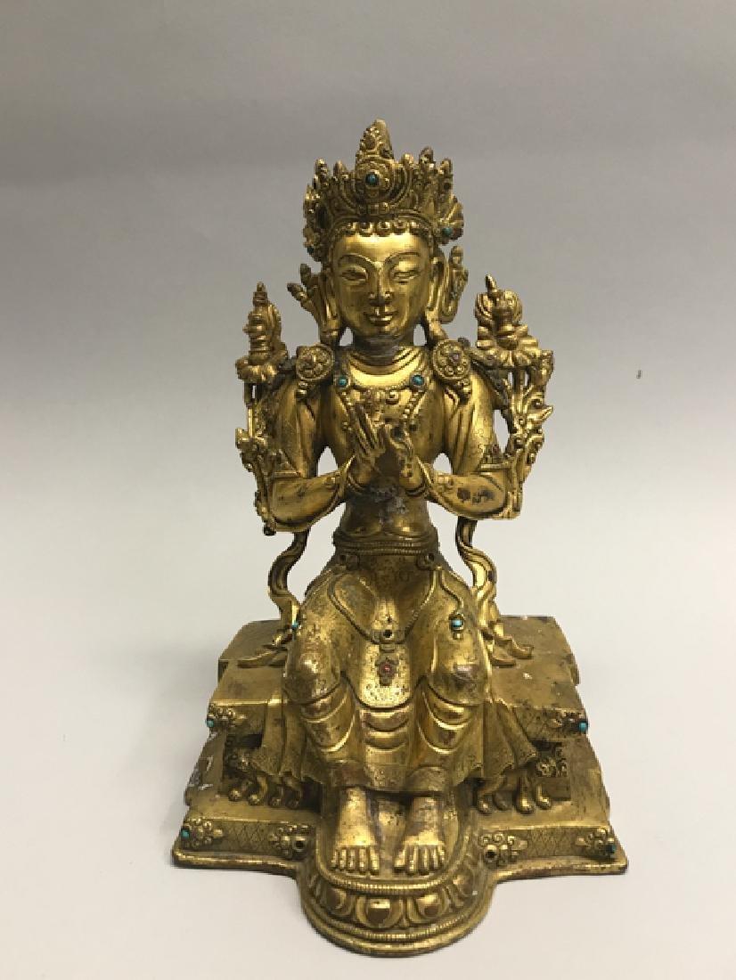 A gilt bronze figure of bodhisattva