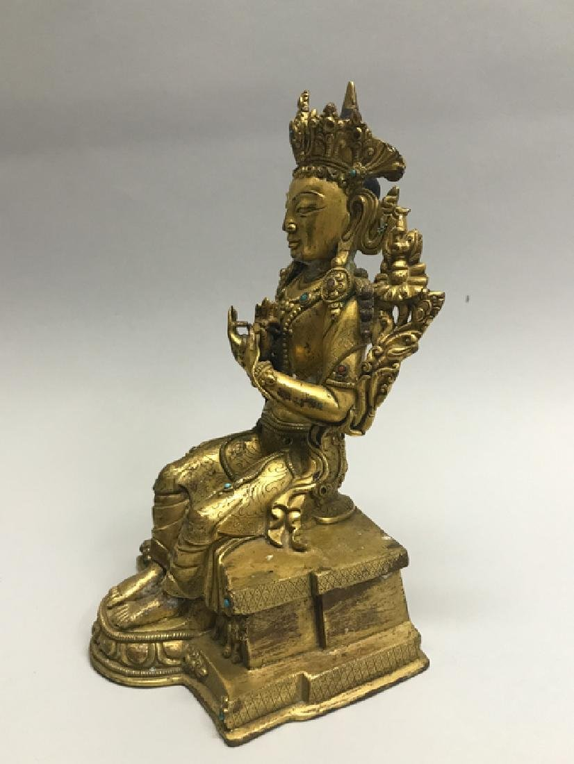 A gilt bronze figure of bodhisattva - 2